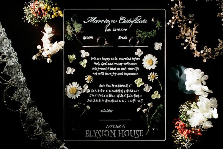署名書 青山エリュシオンハウス 結婚式の外注持ち込みカメラマン
