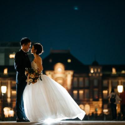 【夕日から夜景まで】東京駅、丸の内でのウェディングドレス前撮り-フォトウェディング-